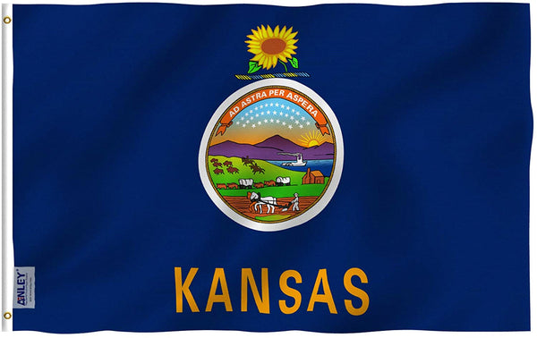 Kansas State Flag - Vivid Color and UV Fade Resistant - Double Stitched 3 X 5 Ft