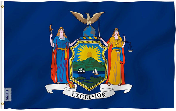 New York State Flag - Vivid Color and UV Fade Resistant - Double Stitched 3 X 5 Ft