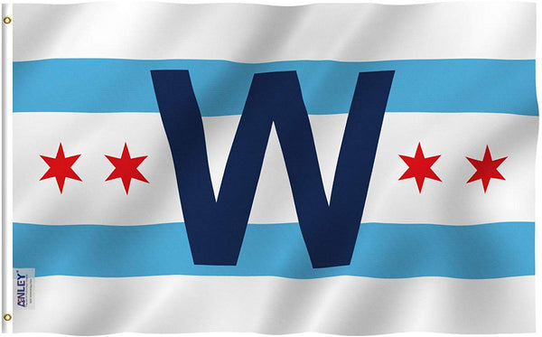 Chicago Cub Win Combo Flag - Vivid Color and UV Fade Resistant - Double Stitched 3 X 5 Ft