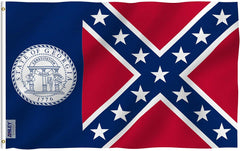 Old Georgia State Polyester Flag - Vivid Color and UV Fade Resistant - Double Stitched 3 X 5 Ft