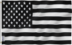 Black and White American Flag - Vivid Color and UV Fade Resistant - Double Stitched 3 X 5 Ft