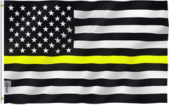 Thin Yellow Line USA Flag - Vivid Color and UV Fade Resistant - Double Stitched 3 X 5 Ft