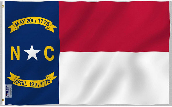 North Carolina State Polyester Flag - Vivid Color and UV Fade Resistant - Double Stitched 3 X 5 Ft