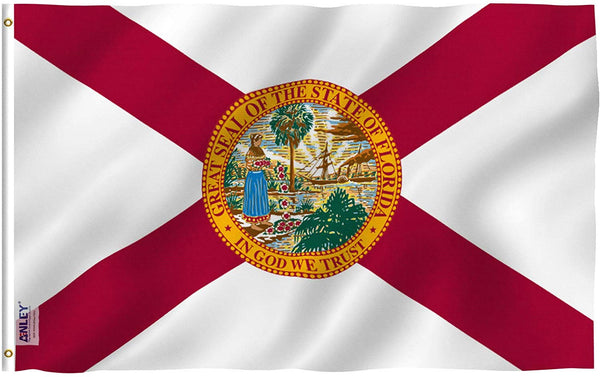 Florida State Polyester Flag - Vivid Color and UV Fade Resistant - Double Stitched 3 X 5 Ft