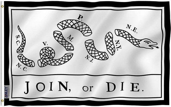 Join Or Die Flag - Vivid Color and UV Fade Resistant - Double Stitched 3 X 5 Ft