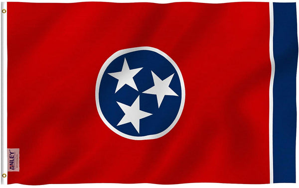 Tennessee State Polyester Flag - Vivid Color and UV Fade Resistant - Double Stitched 3 X 5 Ft