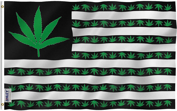 Marijuana Leaf USA Polyester Flag - Vivid Color and UV Fade Resistant - Double Stitched 3 X 5 Ft