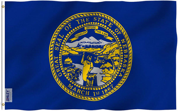 Nebraska State Flag - Vivid Color and UV Fade Resistant - Double Stitched 3 X 5 Ft