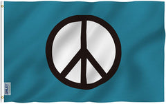Peace Symbol Flag - Vivid Color and UV Fade Resistant - Double Stitched 3 X 5 Ft
