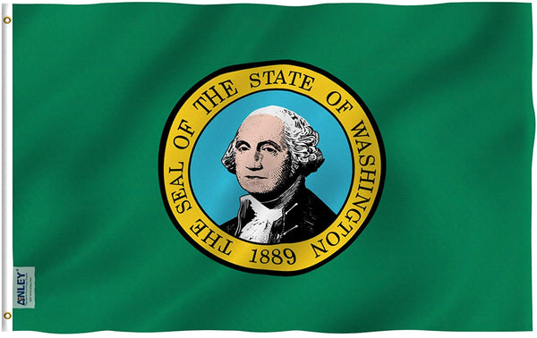 Washington State Flag - Vivid Color and UV Fade Resistant - Double Stitched 3 X 5 Ft