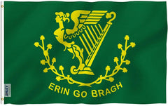 Erin Go Bragh Flag - Vivid Color and UV Fade Resistant - Double Stitched 3 X 5 Ft
