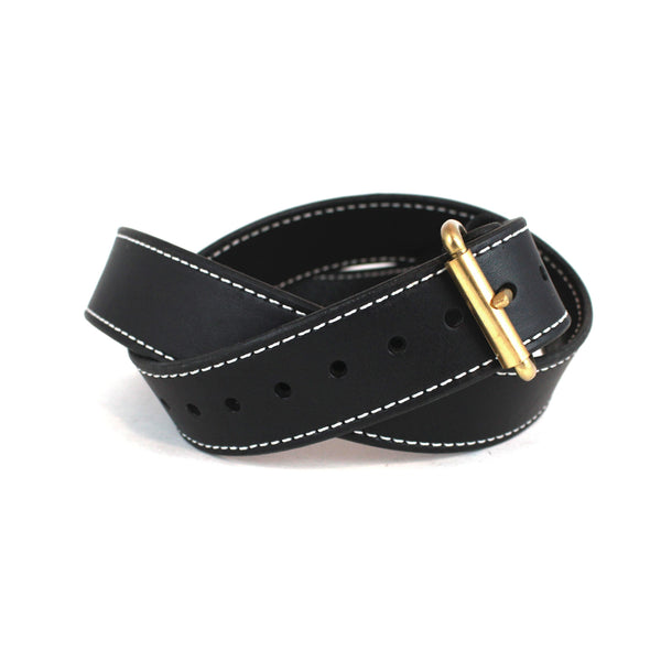 Toby Classic Belt (Black w/ Brass) - Farrow Co.