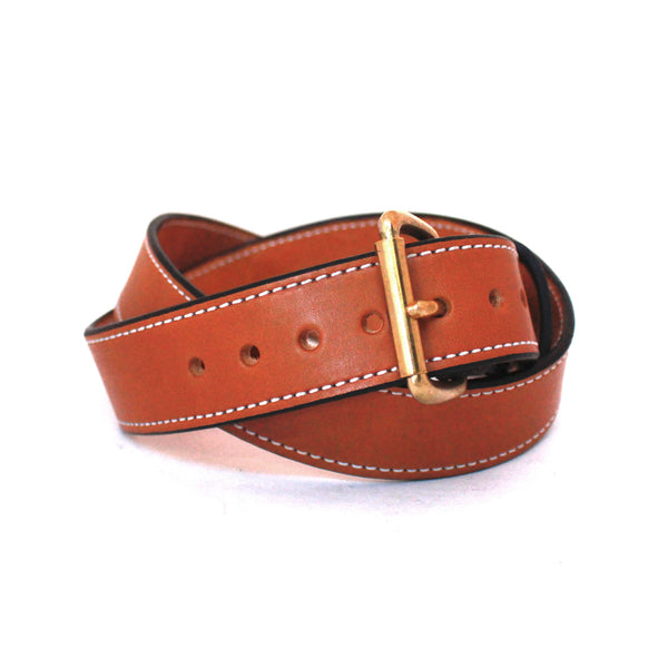 Toby Classic Belt (Saddle Tan w/ Brass) - Farrow Co.