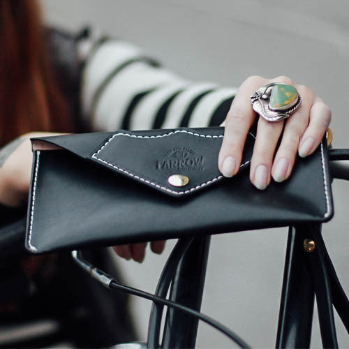 Women's Black Leather Clutch