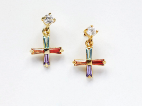 Mini cross earrings colour