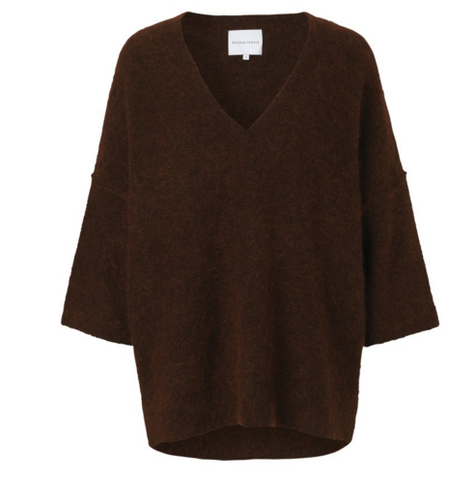 Brook Knit New V Neck Rust/Black