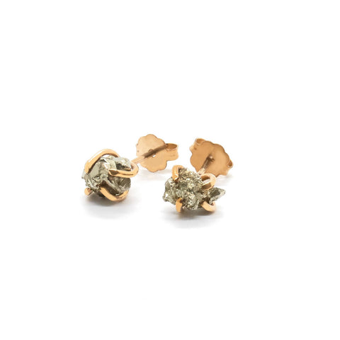 Pyrite stud - Rose Gold