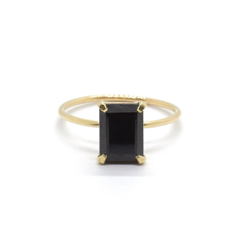 Emerald Cut Black Spinel Ring - Gold