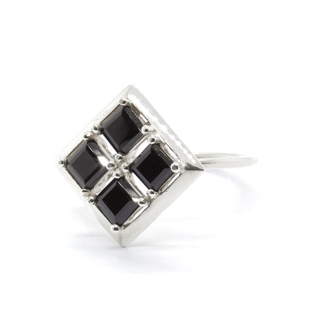 Quadrant Ring with Black Spinel - Silver