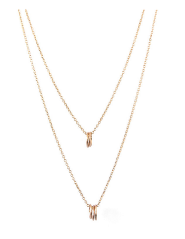 Tiny Layered Oval Necklace / Gold
