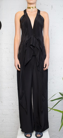 Wide Leg Trouser / Black Silk Crepe