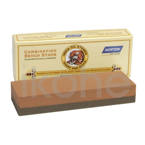 "NORTON INDIA OIL BENCH STONE COMBO 6 X 2 X 1"" COARSE /FINE - USA"