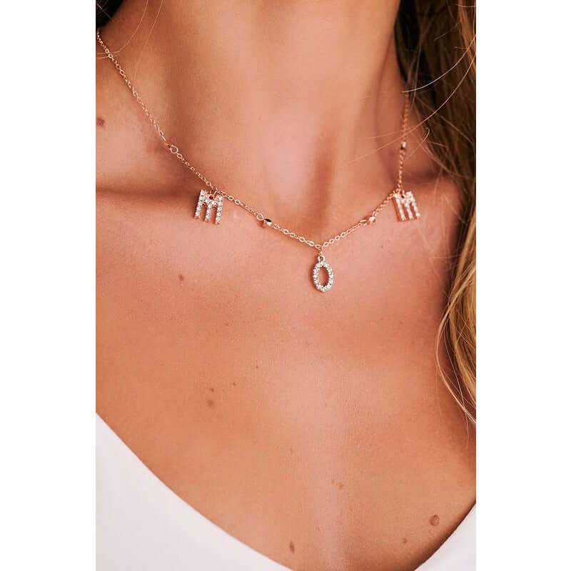 "Rose Gold ""Mom"" Charm Necklace Boho Love"