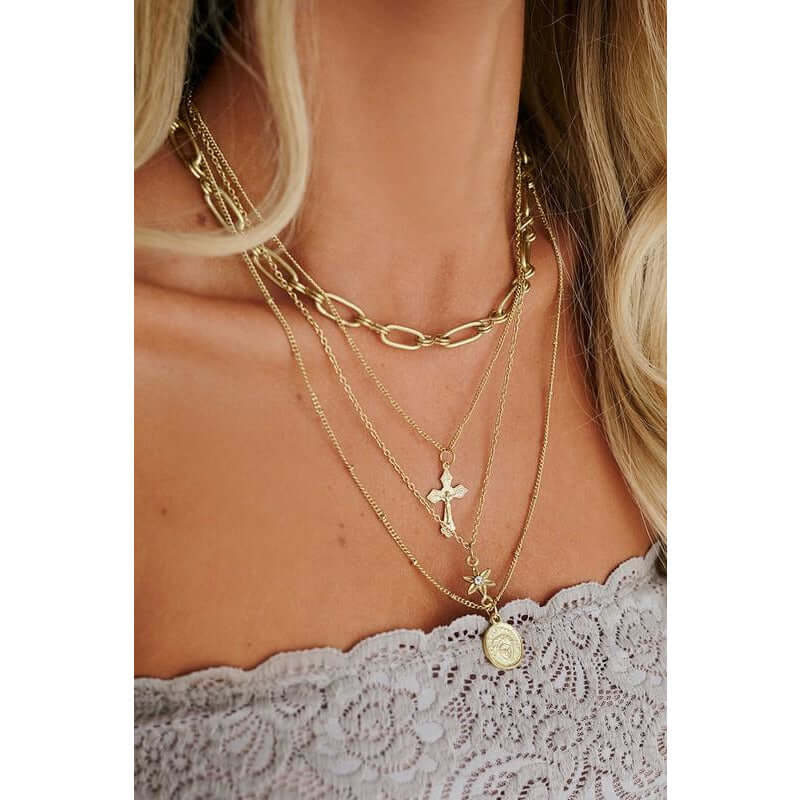 Boho Layered Chain with Cross Charm Boho Love