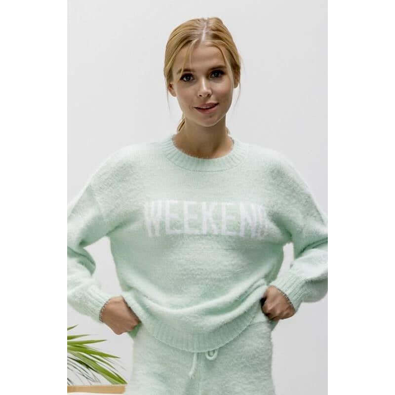 Weekend Soft Fluffy Mint Sweater BaeVely