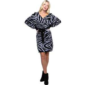 Zoey Zebra Sweater Wrap Dress Papermoon