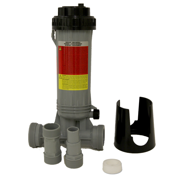 "In-Line Automatic Chlortine Feeder (Holds 9 - 3"" Tabs)"