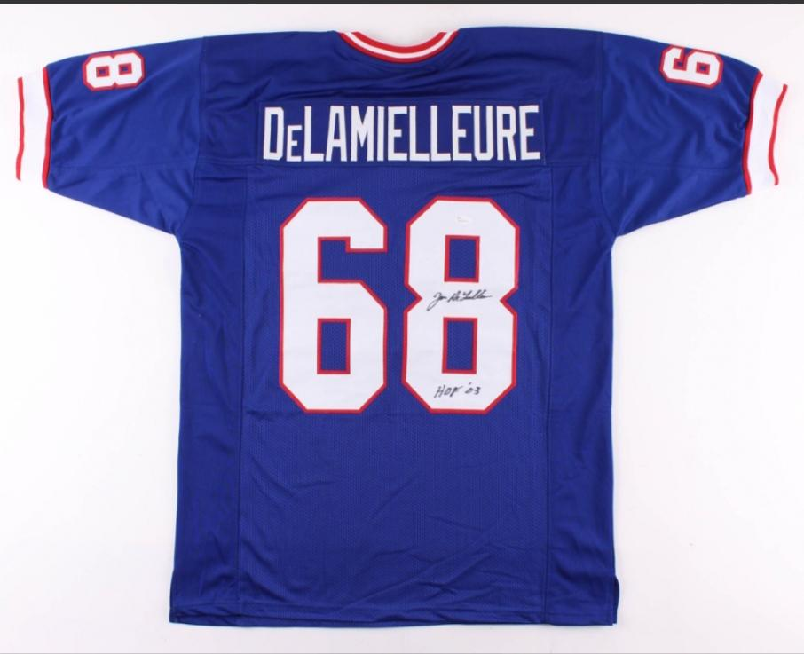 "Joe DeLamielleure Inscribed ""HOF '03"" Buffalo Bills signed Jersey (JSA COA)"
