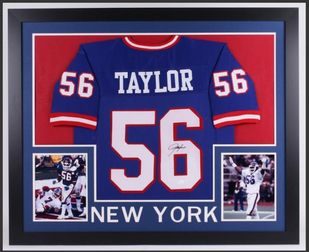 Lawrence Taylor 35X43 custom framed New York Giants signed Jersey (JSA COA)