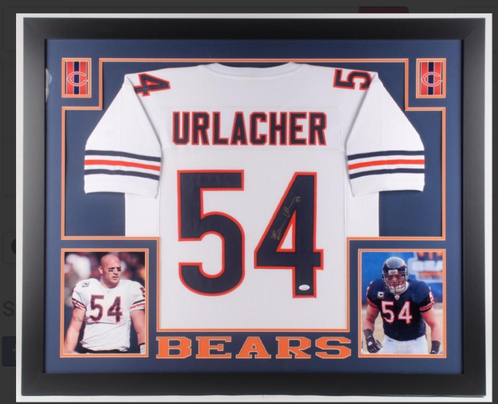 Brian Urlacher 35X43 custom framed Chicago Bears signed Jersey (JSA COA)
