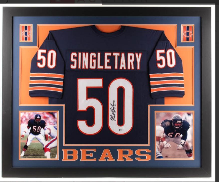 Mike Singletary (HOF) custom framed Chicago Bears signed Jersey (Beckett COA)