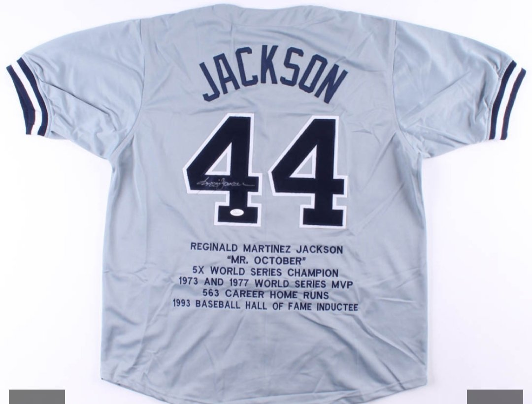 Reggie Jackson signed Career Highlight Stat New York Yankees Jersey (JSA COA)