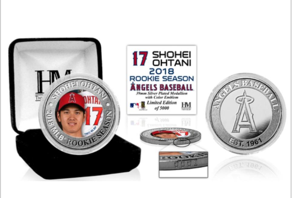 2018 Los Angeles Angels Shohei Ohtani's Rookie Season silver plated medallion coin (COA)