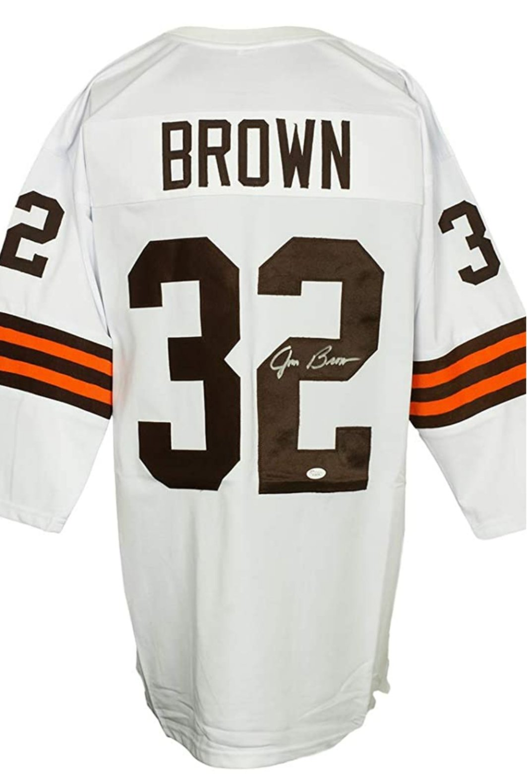 Jim Brown signed white Cleveland Browns style Jersey (JSA COA)