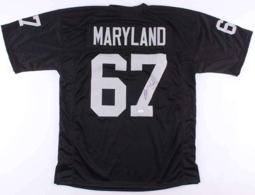 Russell Maryland black signed Oakland Raiders style jersey (JSA COA)