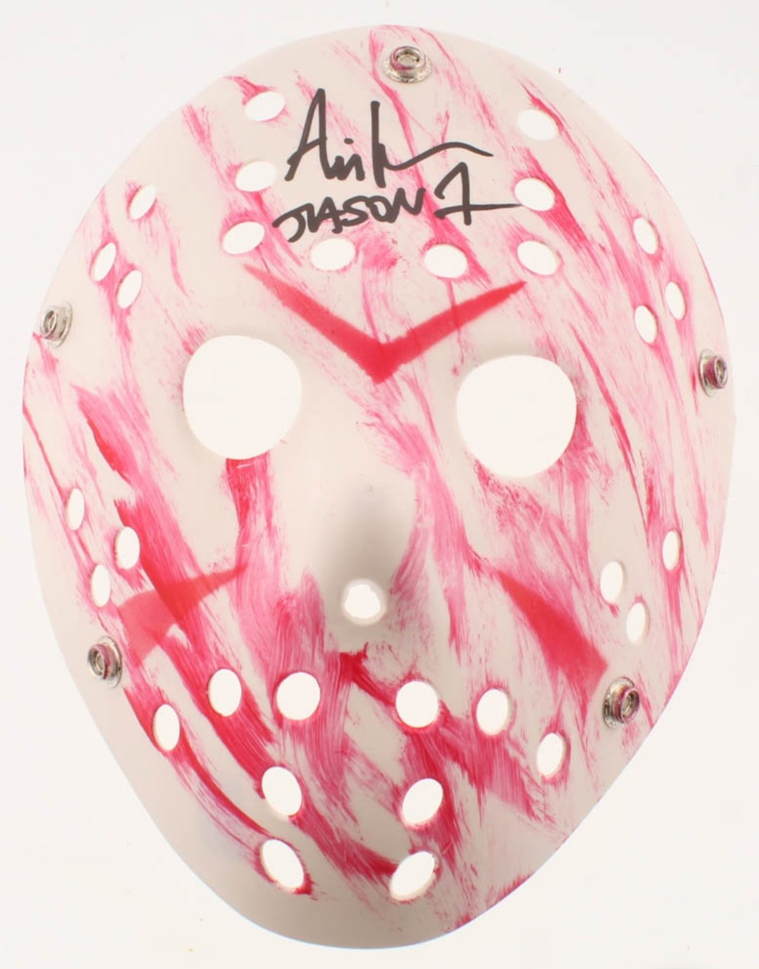 "Ari Lehman Friday the 13th signed and inscribed ""Jason 1"" white Jason Voorhees Mask (Lehman Hologram)."