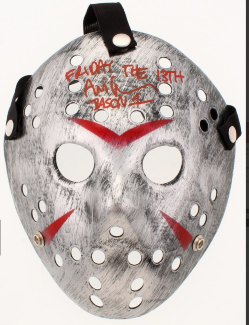 "Ari Lehman Friday the 13th signed and inscribed ""Friday the 13th"" and ""Jason 1"" silver Jason Voorhees Mask (PA COA)."