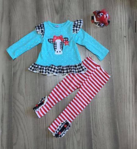 Blue Cow Set with Stripe Pant