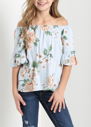 Abby OTS Floral Top