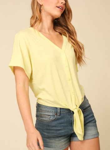 Lucky Lemon Button Up Top
