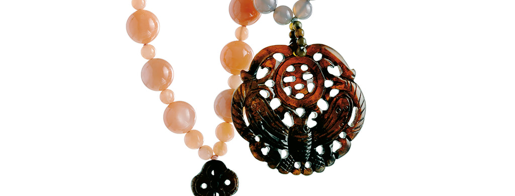 Namibia necklace: Namibia agate, carved Burma jade papillon pendant and ornament necklace.