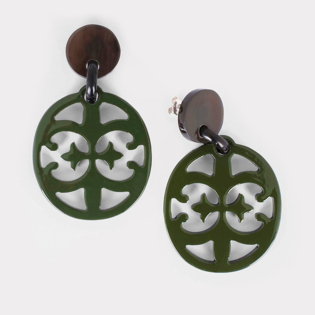 Lily earrings: Carved lacquered Baroque earrings in buffalo horn. Color: forest.