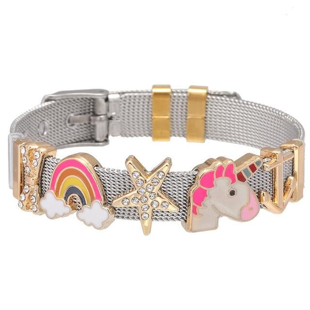 bracelet licorne avec breloque or adulte