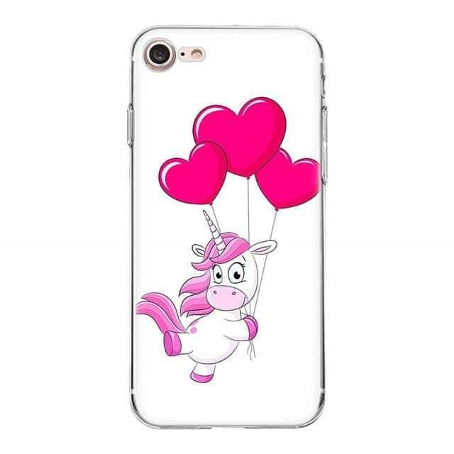 coque licorne iphone ballon en coeur rose Corne