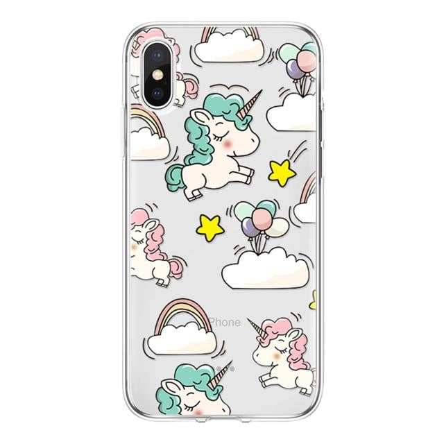coque licorne iphone br transparent multi dodo Paillettes
