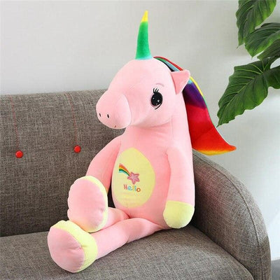 peluche licorne assis rose Belle